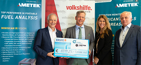Otto Knapp (L), Silvia Zechmeister and Rudolf Hunderstorfer, from Volkshilde Wien receive donation from Werner Müller-Veith (Z), Managing Director at Grabner Instruments